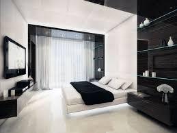 Modern Black And White Bedroom Brown Varnishes Oak Wood Nightstand Fireplace In Master Bedroom