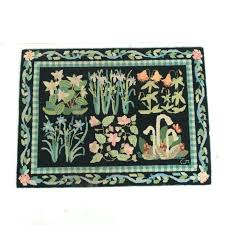 rana hand hooked navy pink area rug vintage