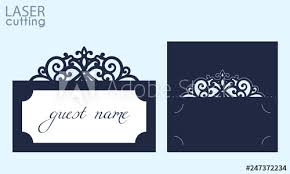 Place Card Holder Template Laser Cut Wedding Invitation Place Card With Lace Border