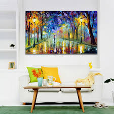 palette knife painting forest trees pictures night landscape painting bright park road home decoration wall art