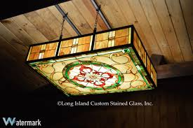 stained glass light box custom designed and personalized for an adirondack room in an upstate ny