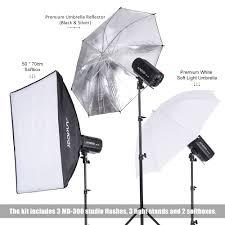 details of andoer md 300 900w 300w 3 studio strobe flash light kit with light stand softbox lambency unbrella barn door flash trigger carrying