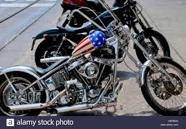 a harley davidson a chopper with the petrol tank painted like the