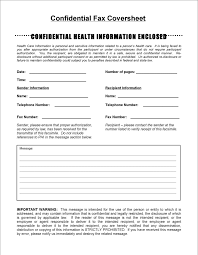 Free Confidential Fax Cover Sheet Doc 27kb 1 Page S