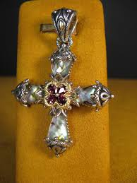 barbara bixby cross abalone garnet flower enhancer pendant doublet designer from barbara bixby
