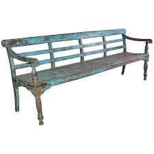 antique painted teak wood garden bench for