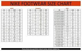 Nike Jordan Shoe Size Chart Nike Running Shoes