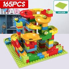165Pcs Building Blocks Set <b>Crazy Marble Race</b> Run Maze Track ...