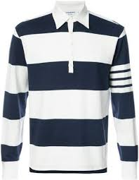 thom browne long sleeve polo with 4 bar stripe in blue and white rugby stripe