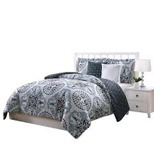 bailey blue gray and black 5 piece reversible king comforter set ymz007995 the home depot