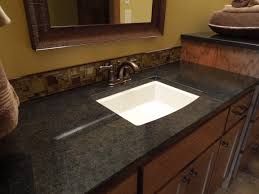 granite bathroom counters. Furniture. Black Granite Bathroom Countertops Connected By Rectangle White Sink And Stainless Curved Faucet . Counters O