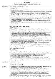 Web Marketing Manager Resume Samples Velvet Jobs