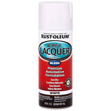 Rust Oleum Automotive 12 Oz White Gloss Acrylic Lacquer Spray