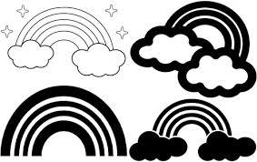 虹 イラスト 無料 フリー素材 パステル色の虹 白黒 かわいい画像