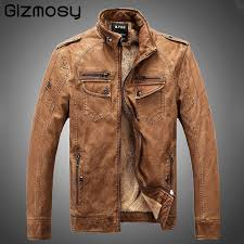 new brand leather jacket men winter warm coat leisure male motorcycle jacket clothing vintage casual leather