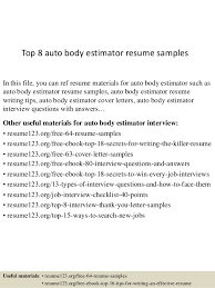 Top 8 auto body estimator resume samples In this file, you can ref resume  materials ...