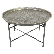 round metal coffee table metal tray top coffee table