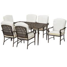 hampton bay oak cliff custom 7 piece metal outdoor dining set with cushions included