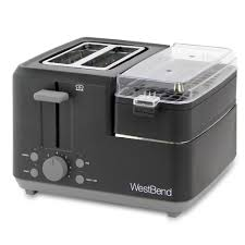 West Bend <b>Breakfast</b> Station 2-Slice Black Wide Slot <b>Toaster</b> with ...