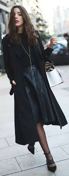 leather skirt winter outfit