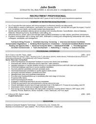 Recruiter Resume Templates Entry Level Recruiter Resume Template