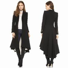 turn down collar slim black long trench coat winter woolen coat women overcoat dovetail causal wool