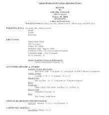 Academic Resume Template For College Resume Template For College