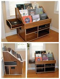 handmade record player and vinyl collection display storage cabinet by the hi phile record cabinet