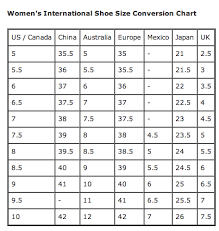 Shoe Size Conversion Chart Women Womens International Shoe Size Conversion The Barn Family