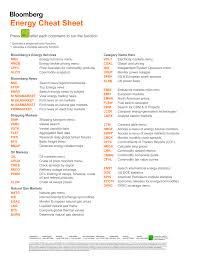 Bloomberg Energy Cheat Sheet