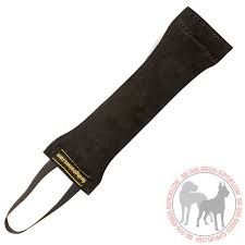 leather dog bite tug with only one handle