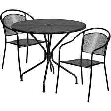 35 25 round black indoor outdoor steel patio table set with 2 round back chairs