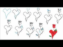 Small Picture How To Draw A Heart With A Rose Flower Easy Simple Step By Step