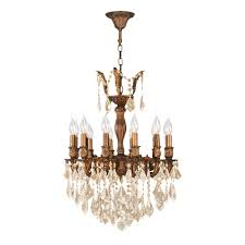 worldwide lighting versailles 12 light french gold chandelier with golden teak crystal
