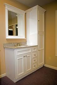 Bathroom With No Linen Closet Vanity With Linen Cabinet For - Bathroom cabinet remodel