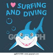 smiling shark clipart. Simple Smiling Surfing And Diving Summer Theme With Little Smiling Shark Throughout Smiling Shark Clipart