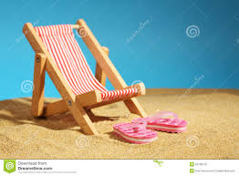 Flip Flop Chair Beach Chair Standing On Sea Sand And Pink Flip Flops With Flowers
