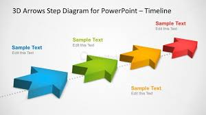 3d Flow Chart Powerpoint 4 Milestones Timeline Template With 3d Arrows In Powerpoint