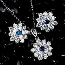 18k white gold gf simulated diamond pendant necklace stud earrings wedding set