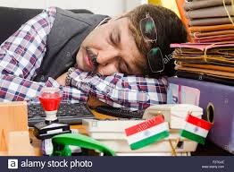 Employee Office 1 Indian Man Government Employee Office Sleeping Stock Photo