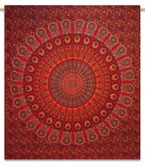 red tapestry beach mandala hippie bohemian cotton wall hanging wall art india 92x82 inches
