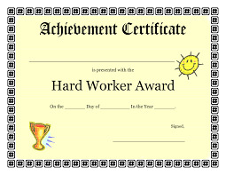 certificates of completion for kids printable achievement certificates kids hard worker achievement
