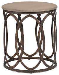 gabby ella oak and iron round accent table industrial side tables and