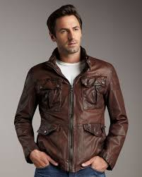 lyst andrew marc leather military jacket in brown for men