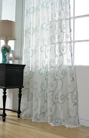 sheer curtain voile panel with cotton embroidery pattern one panel choose width and length made to order custom size available