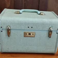 vine light blue samsonite train case cosmetics case luge mid century hardside suit case