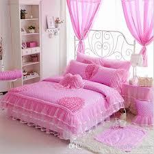 luxury cotton bedding sets polka dot lace kids crib bedding duvet cover set romantic princess bedskirt