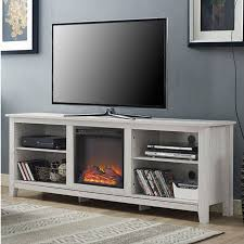 70 inch tv stand intended for white wash wood tv fireplace space heater decorations 1