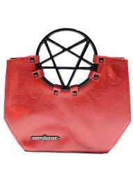 pentagram handle skull purse in red at gothic plus gothic clothing jewelry goth