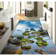 Bathroom:Painting Isleand Bath Ocean Stickers Custom 3D Design Beach Pvc  Bathroom 3D Floor Painting